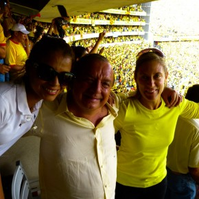 Alvaro Noboa and Annabella Azin celebrating at Estadio Monumental