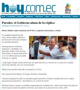 Diario HOY -Paredes - El Gobierno abusa de la réplica - Álvaro Noboa visita cantones de El Oro y organiza caminatas y visitas