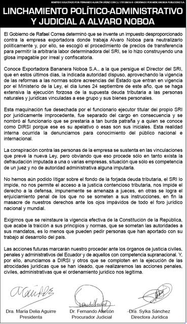 Linchamiento Politico-Administrativo y Judicial a Álvaro Noboa