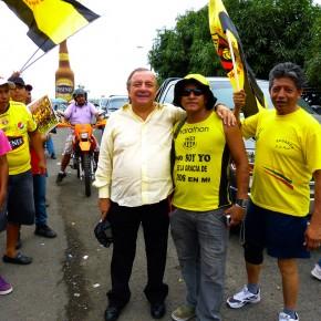 Alvaro Noboa and Supporters of Barcelona