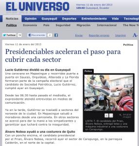 FUENTE: El Universo - Presidenciables Aceleran el Paso Para Cubrir Cada Sector